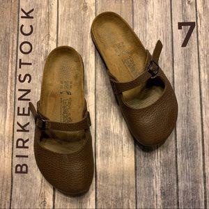 Birki's Maryjane pebbled Leather Mule Clogs